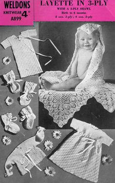 1dd1182108 Items similar to PDF Vintage Pretty Baby Layette Knitting Pattern 1950s  Weldon s A899 Dress Vest Blanket Matinee Bonnet Mitts Doll Ultra-Lacy on  Etsy