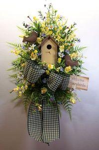 Swag-Wreath-Birdhouse-Birds-Spring-Summer-Door-Wall-Arrangement-Country