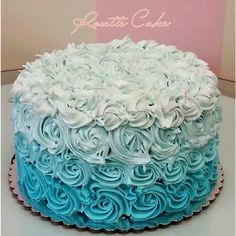 Ombre Rosette Cake cakepins.com