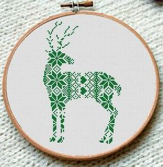 Green Reindeer Cross Stitch Pattern | Craftsy