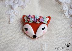 Fox brooch Fox pin Fox badge Orange fox Cute by MagicStuffStore