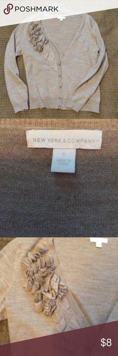 New York & Co cardigan Nice light weight sweater cardigan. Pretty detailing on front. Bundle with other cardigans in my closet & save! New York & Company Sweaters Cardigans