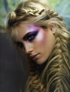 Messy French braid & mermaid makeup ! Would be awesome makeup for a photo shoot!
