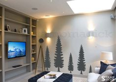 Pine Tree Wall Decal - Pine Forest Wall Art - Vinyl Christmas Tree Sticker Home Decor  - K374 by stampmagick on Etsy https://www.etsy.com/listing/281744486/pine-tree-wall-decal-pine-forest-wall