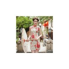 Short-Sleeve Floral Print Cheongsam ($39) ❤ liked on Polyvore featuring dresses i women