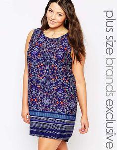 New+Look+Inspire+Sleeveless+Tunic+Dress+In+Border+Print