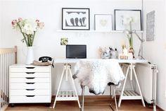 Scandi trestle desk, white, scaled back