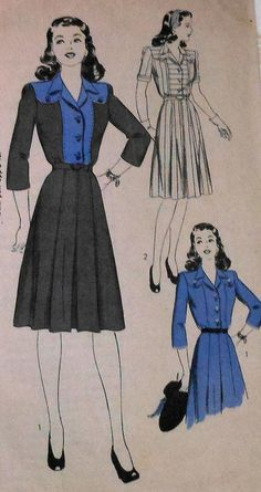 1940s HOLLYWOOD PATTERN black blue day dress illustration print ad vintage fashion style