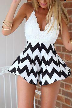 White Lace Chevron Skirt Cross Back Playsuit -YOINS