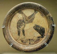 Plate w/ seated sphinx, Eastern Greek Orientalizing, c. From Naucratis in Egypt. Naucratis was the first, and for much of its early history, the only permanent Greek colony in Egypt Ancient Greece, Ancient Egypt, Roman Latin, Ancient Artefacts, Ancient Civilizations, Greek Pottery, Black Figure, Dark Ages, Ancient Romans