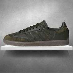 A stunning adidas Samba leather in Night Cargo with gum sole available in  sizes at A shoe that offers a fresh b63500ee2