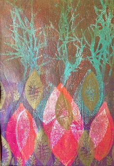 Monoprint: Leaves Print, Nature print, Botanical art print, monotype, gelli print