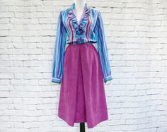 Vintage 80s Top-Attached Dress M L Magenta Blue Striped Ruffled Velveteen Long Sleeve by PopFizzVintage on Etsy