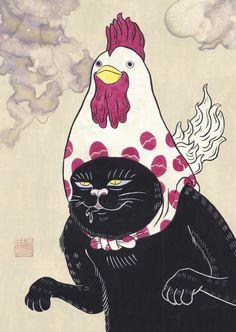 何時にしようか、何処にしようか。 あぁ、待ちきれない。 #art #illustration #japan #cat #Watercolor #猫 #イラスト #日本画 #鶏 #アート Japan Cat, Japan Illustration, Cheer Up, Japanese Art, Cat Art, Folk Art, Snoopy, Tattoo, Nice