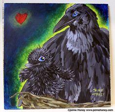"""No Greater Love"" by artist Jaime Haney #mamaandbaby #crowbaby #crow"