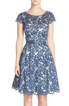 Eliza J Belted Lace Cap Sleeve Fit & Flare Dress (Regular & Petite) available at #Nordstrom