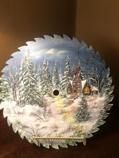 Painting on saw blade, hand painted saw. Round painted saw blade. Country church, winter scene.
