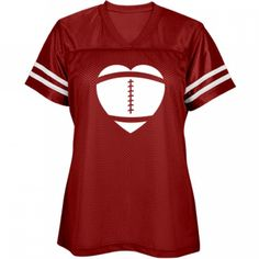 Women's Jersey Heart: Misses Fit Mesh Football Jersey. Custom made and printed on demand when ordered. 3.5 oz, 100% polyester mesh body. 4.1 oz, 100% polyester dazzle yoke and sleeves. Crossover v-neck. Sporty, sewn-on sleeve stripes.
