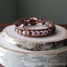 Rhodonite and leather single wrap bracelet