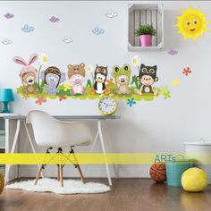 (3583f) Nálepka na stenu - Kamaráti na lúke   #ARTSABLONY.SK   #zvieratka #nalepka