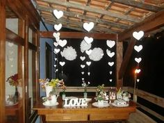 Decoração mesa lual no sítio festa bodas de porcelana. By De Coração Festas Afetivas