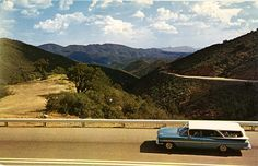 Vintage Arizona postcard of a Chevy Rambler Wagon on Highway 89 from Yarnell to Prescott.