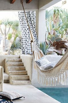 Backyard Hammock Ideas -Laying in a hammock is just one of the most relaxing things on the planet. Have a look at lazy-day backyard hammock ideas! Outdoor Rooms, Outdoor Gardens, Outdoor Living, Outdoor Decor, Outdoor Fun, Interior Exterior, Exterior Design, Exterior Stairs, Interior Doors