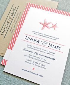 Starfish wedding invitation - loving these colors together!