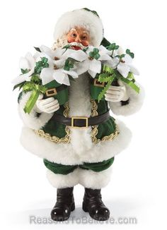 A Hundred Thousand Welcomes.  Santa arrives at your door carrying a very special Celtic Christmas hostess gift, two snowy white poinsettias. Cead Mile Failte!
