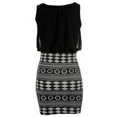 Black Sexy Womens Geometric Figure Printed Sleeveless Tank Dress found on Polyvore