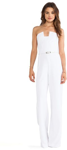 $390, White Jumpsuit: X Revolve Lena Jumpsuit by Black Halo. Sold by Revolve Clothing. Click for more info: http://lookastic.com/women/shop_items/37598/redirect