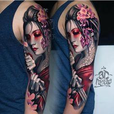 Tattoo Back Girl Japan - Tattoo Geisha Tattoos, Geisha Tattoo Sleeve, Samurai Tattoo Sleeve, Irezumi Tattoos, Tattoo Girls, Pin Up Girl Tattoo, Girl Tattoos, Japanese Girl Tattoo, Japanese Sleeve Tattoos