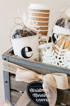 The TomKat Studio: How to Make a Coffee Gift Basket… Coffee Gift Baskets, Holiday Gift Baskets, Diy Gift Baskets, Coffee Gifts, Holiday Gifts, Christmas Gifts, Basket Gift, Christmas Morning, Coffee Box