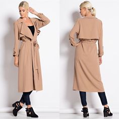 XX MATHY Crepe Trench Coat - CAMEL Crepe Trench Coat  95 %Polyester 5%spandex. NO TRADE, PRICE FIRM Jackets & Coats Trench Coats