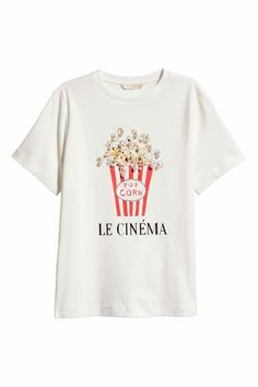 Pop corn le cinema t shirt in 2019 Popcorn Shirts, White Popcorn, Pop Corn, Tee Shop, H&m Online, Direct To Garment Printer, T Shirts, Shirt Style, Graphic Tees