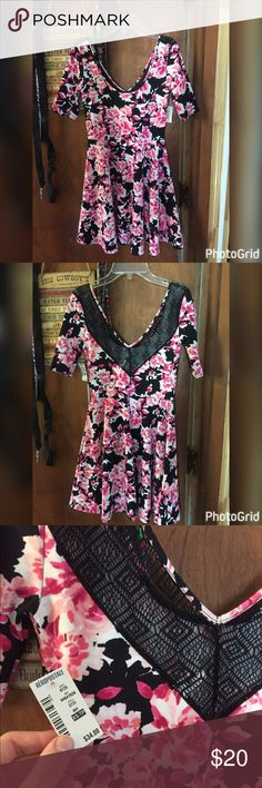 NWT three quarter sleeve Aeropostale dress New with tags! Super cute! Lace side is the back. Slightly off the shoulder and the sleeve are three quarter length. Aeropostale Dresses