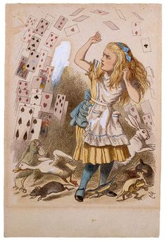 "John Tenniel (1820–1914)  Sir John Tenniel's hand-colored proof of Shower of Cards for The Nursery ""Alice"", ca. 1889"