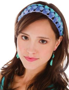 Wonderland Hair Band.  Jill Wright.  Crochet headband.  Crochet! Easy, No-Sew Crochet.  Spring 2012.  Newsstand.  5 ply 257m/ 100g x 1