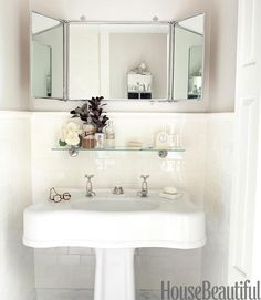 Add a shelf above the sink for easy access to the things you use every day. -  10 Ways to Squeeze a Little Extra Storage Out of a Small Bathroom