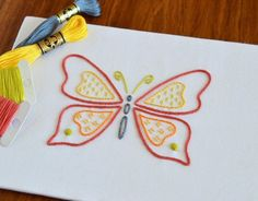 Papillon I hand embroidery pattern, butterfly embroidery, modern embroidery, emb. Butterfly Embroidery, Hand Embroidery Stitches, Butterfly Pattern, Modern Embroidery, Hand Embroidery Designs, Diy Embroidery, Embroidery Sampler, Creative Embroidery, Butterfly Images
