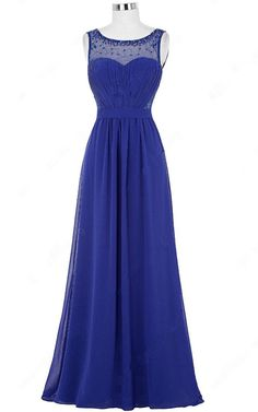 A Line Scoop Neck Royal Blue Chiffon Tulle Beading Long Prom Dress