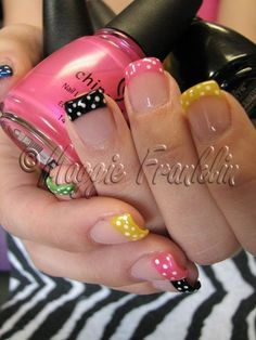 Multi colored nail tips with polka dots :) The black makes the other colors pop!  nails B it