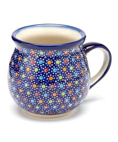 Take a look at this Blue Polka Dot Bubble Mug by Lidia's Polish Pottery on #zulily today!