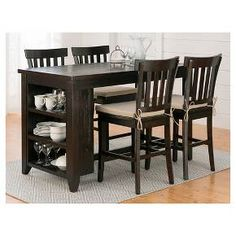 Prospect Creek Counter Height Table with 3 Shelf Storage Wood/Coffee- Jofran Inc. : Target