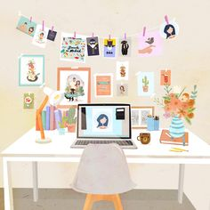 Work space and study space image illustration Space Illustration, Graphic Design Illustration, Study Room Decor, Aesthetic Art, Cartoon Art, Cute Drawings, Cute Art, Design Inspiration, Instagram