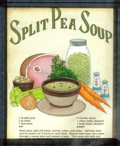 Retro Vintage Primitive Split Pea Soup Recipe Sign Country Kitchen Wall Decor FREE SHIPPING