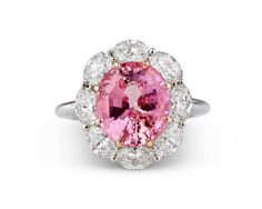 5.61 Carats Untreated Padparadscha Sapphire Diamond Gold Ring