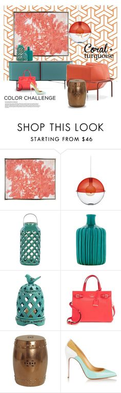 Coral & turquoise... by gloriettequartet on Polyvore featuring interior, interiors, interior design, home, home decor, interior decorating, Koziol, Christian Louboutin, Kate Spade and MOROSO