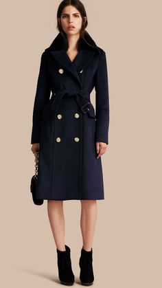 Wool Cashmere Trench Coat with Detachable Fur Collar Navy   Burberry