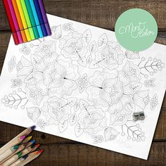 Adult Coloring Page: Embroidery Inspired Flowers 3